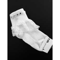 Little People Girls White Lace & Cross Communion Socks Style 5301X