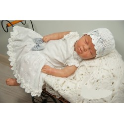 Beautiful Handmade Christening Linen White Dress Style POLA