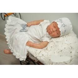 Beautiful Handmade Christening Linen White Dress Style POLA