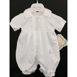 Couche Tot Baby Boys White Christening Romper Style 14066