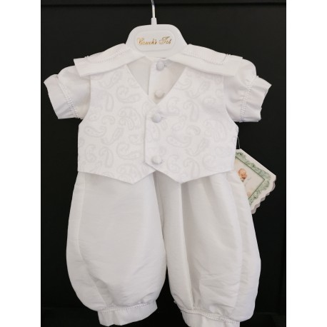 Couche Tot Baby Boys White Christening Romper Style CHR200