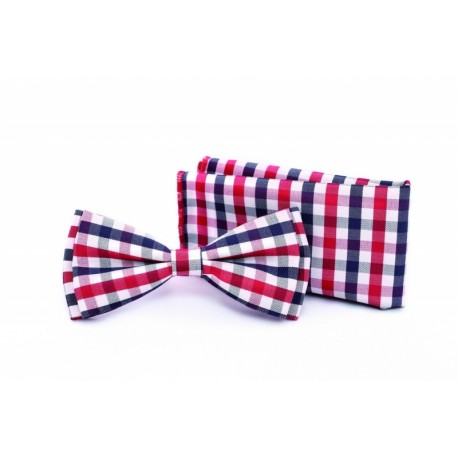 Checkered Navy/White/Red Bow Tie and Handkerchiefs Style MC 104