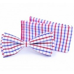 Checkered White/Blue/Red Bow Tie and Handkerchiefs Style MC 105