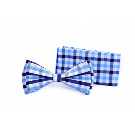 Checkered White/Blue Bow Tie and Handkerchiefs Style MC 101