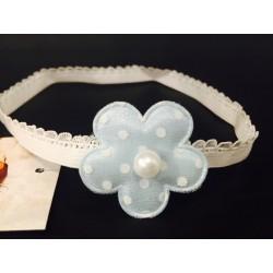 Cute Baby Girls Handmade Headband with Blue Polka Dots Flower and Pearl 128