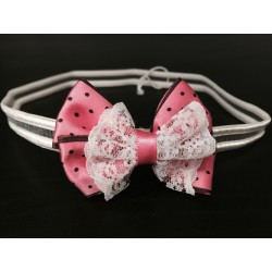 Lovely Pink Polka Dots Bow Handmade Headband op110