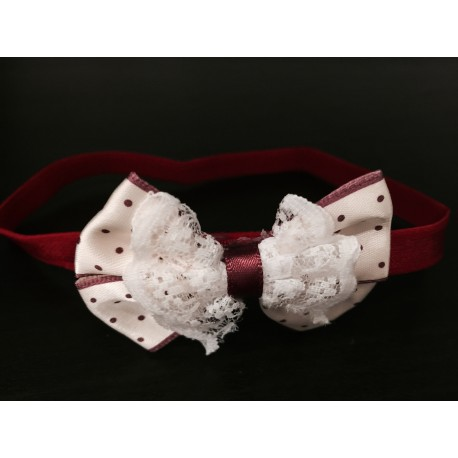 Lovely Burgundy/Cream Polka Dots Bow Handmade Headband op120
