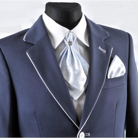 Stylish Blue Cravat with Handkerchiefs c02