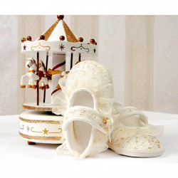 Baby Girls Ivory/Gold Lace Christening Shoes Style 3818