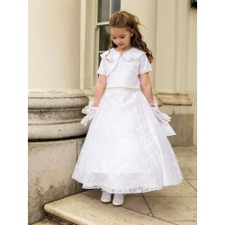 White Lace Communion Dress Style EVELYN Full Length