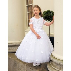 Full Length Lovely and Girly Short Sleeves Floral Communion Dress style Leona