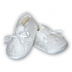 Lovely White Satin Christening Shoes by Sarah Louise style 004403BP