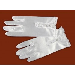 Satin Communion Gloves with Lace 6.3.3. 9