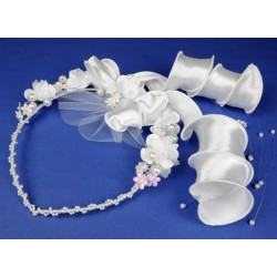 Richly Decorated Pearls and Flowers Communion Headpiece 6.4./225