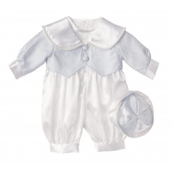 Boys Christening Romper in Blue style Blue Pattern