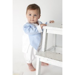 Boys Vivaki Diamond Christening Romper in Blue CR05