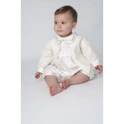Boys Vivaki Diamond Christening Romper in Ivory CR05
