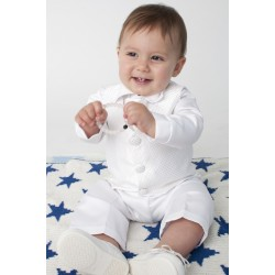 Boys Vivaki Checkered Christening Suit in White CR00