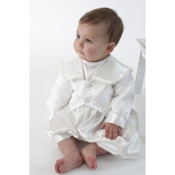 Boys Christening Romper in White BR02