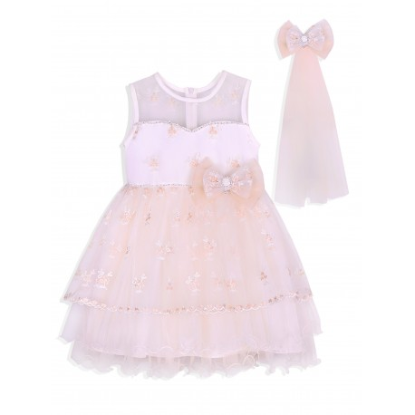 Ivory Flower Girls / Special Occasion Dress with Bow Veil Style 4918