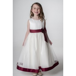 Flower Girls/ Special Occasions Dress in Ivory and Wine Color Style V340