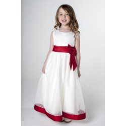 Flower Girls/ Special Occasions Dress in Ivory and Red Color Style V340