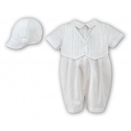 Sarah Louise Ivory Boys Christening Romper with Bonnet Style 002210S