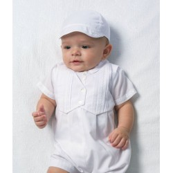 Sarah Louise White Boys Christening Romper with Bonnet Style 002210S