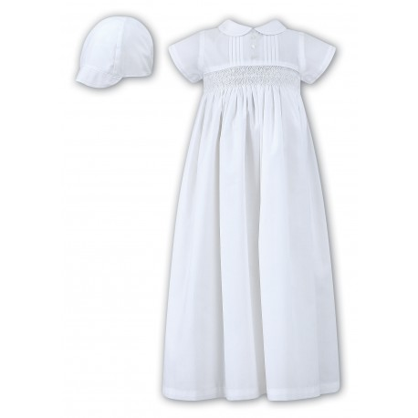 Sarah Louise Lovely Baby Boy White Christening Gown with Bonnet style 001178s