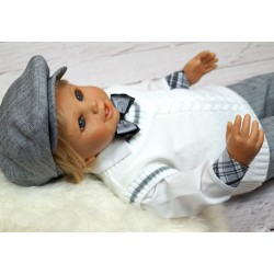 Lovely Baby Boy Christening/Special Occasion White and Grey Outfit style Stas