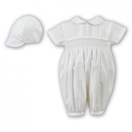 Sarah Louise Ivory Christening Romper with Bonnet Style 002200S