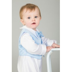3 Piece Christening Romper in White / Blue Color with Bonnet Style CR09