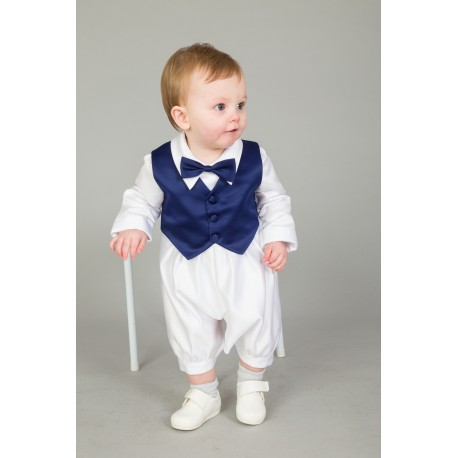 3 Piece Christening Romper in White / Navy Color with Bonnet Style CR09N