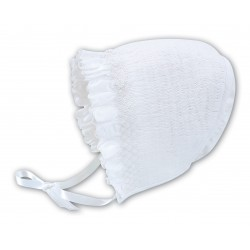 Sarah Louise White Baby Girl Christening Bonnet Style 003602P