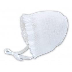 Sarah Louise White Baby Girl Christening Bonnet Style 003602P