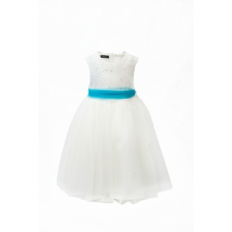Ivory / Turquoise Flower Girl / Special Occasions Dress Style 354