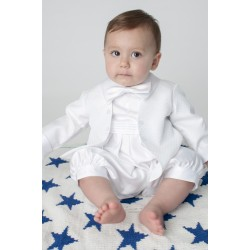 Boys Vivaki Diamond Christening Romper in White CR05
