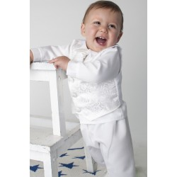 White Christening Baby Boy Suit Style CR01