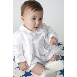 Boys Vivaki White Christening Romper Style CR04