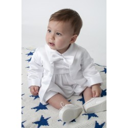 Boys Vivaki White Christening Romper Style CR03