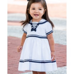 Sarah Louise Special Occasion Baby Sailor White & Navy Dress Style 010814