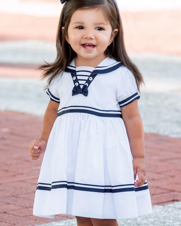 2e1bd1d0d12e Sarah Louise Special Occasion Baby Sailor White & Navy Dress Style 010814
