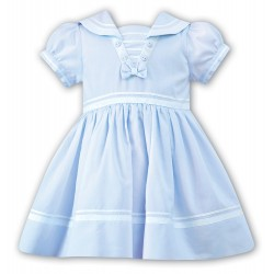 Sarah Louise Special Occasion Baby Sailor Blue & White Dress Style 010814