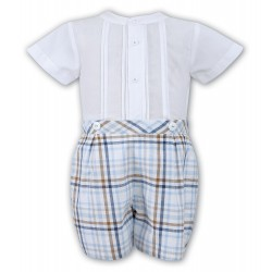 Sarah Louise 2 Piece Set White & Blue & Beige Christening / Special Occasions Boy Outfit Style 010714