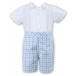 Sarah Louise 2 Piece Set White & Blue & Navy Christening / Special Occasions Boy Outfit Style 010707