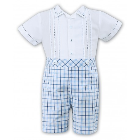 2 Piece Set White & Blue & Navy Christening / Special Occasions Boy Outfit Style 010707