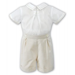 2 Piece Set Ivory & Beige Special Occasions Boy Outfit Style 010704