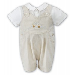 Sarah Louise Baby Boy Ivory & Beige Special Occasion Romper Style 010703
