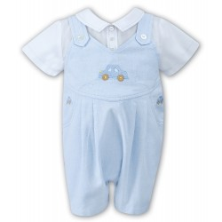 Sarah Louise Baby Boy Blue & White Special Occasion Romper Style 010703