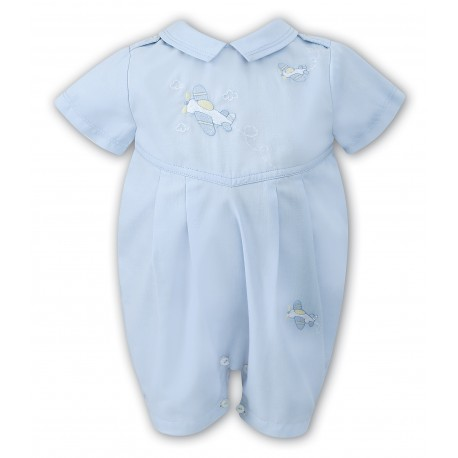 Sarah Louise Special Occasion Aeroplane Blue Romper Style 010701